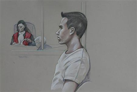 An artist's sketch shows Luka Rocco Magnotta, appearing in court for his preliminary hearing in Montreal, March 11, 2013. Magnotta, accused of murdering and dismembering a Chinese student then posting a video online of him eating part of the body, appeared in court on Monday as his lawyers unsuccessfully sought to close pre-trial proceedings to the press and public. REUTERS/Atalante/Handout