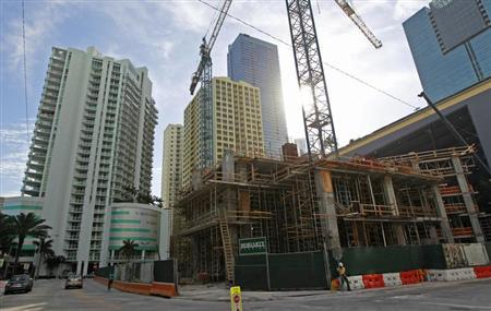 A new condominium building is shown under construction in the Brickell Ave. area in Miami, Florida February 14, 2013. REUTERS/JOE SKIPPER