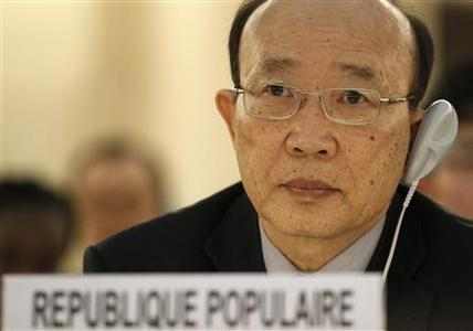 So Se Pyong, North Korea's ambassador to the U.N. in Geneva listens to the report of U.N. Special Rapporteur on North Korea, Marzuki Darusman during the Human Rights Council at the United Nations in Geneva March 11, 2013. REUTERS/Denis Balibouse