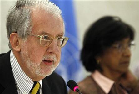 Chair of the Commission of Inquiry on Syria Paulo Pinheiro (L) delivers his report next to U.N. human rights chief Navi Pillay during the Human Rights Council at the United Nations in Geneva March 11, 2013. REUTERS/Denis Balibouse