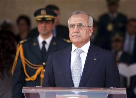Lebanon's President Michel Suleiman speaks during a ceremony marking the 67th Army Day, at a military academy in Fayadyeh, near Beirut, August 1, 2012. REUTERS/Dalati Nohra/Handout