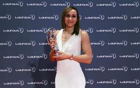 British heptathlete Jessica Ennis poses with her Laureus Sportswomen of the Year award during the 2013 Laureus World Sports Awards, at Municipal Theater in Rio de Janeiro March 11, 2013. REUTERS/Sergio Moraes