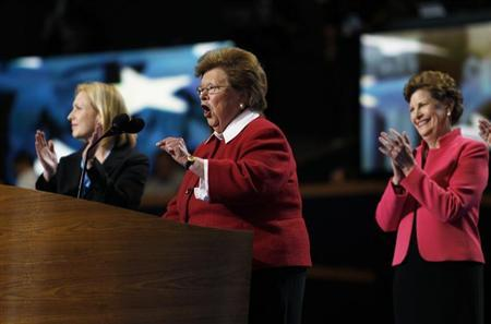 U.S. Senator Barbara Mikulski (D-MD) (C) is applauded by fellow female members of the U.S. Senate while addressing the second session of the Democratic National Convention in Charlotte, North Carolina September 5, 2012. REUTERS/Jessica Rinaldi