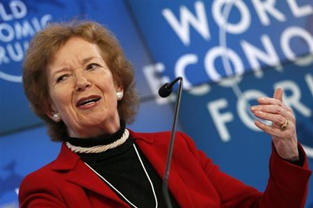 Former Irish president Mary Robinson attends the annual meeting of the World Economic Forum (WEF) in Davos January 26, 2013. REUTERS/Pascal Lauener