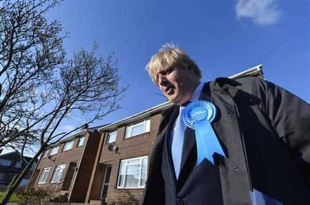 London Mayor Boris Johnson campaigns for Conservative Party candidate Maria Hutchings in Eastleigh in southern England February 20, 2013. REUTERS/Toby Melville