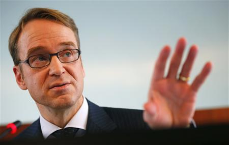 Jens Weidmann, President of Germany's federal reserve bank Bundesbank addresses the media during the bank's annual news conference in Frankfurt, March 12, 2013. Inflation pressures are easing in the euro zone and price expectations are firmly anchored, European Central Bank policymaker Jens Weidmann said on Tuesday. REUTERS/Kai Pfaffenbach