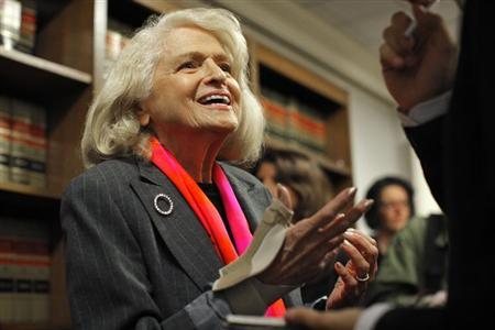 Edith Windsor, an 83-year-old woman who says the Defense of Marriage Act discriminates against gay couples in violation of the U.S. Constitution, speaks to the media during a news conference in New York October 18, 2012. REUTERS/Eduardo Munoz