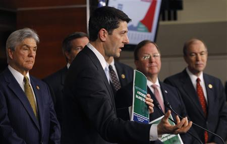 House Budget Committee Chairman Rep. Paul Ryan (R-WI) holds a news conference to unveil the House Republicans' FY2014 budget resolution in Washington March 12, 2013. REUTERS/Gary Cameron