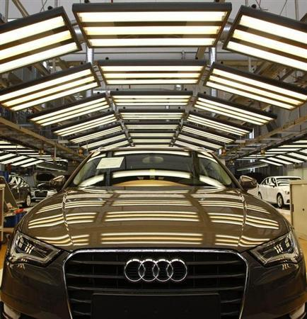 An Audi A3 is pictured in the final check area at the production line of the German car manufacturer's plant in the Bavarian city of Ingolstadt March 11, 2013. REUTERS/Michaela Rehle