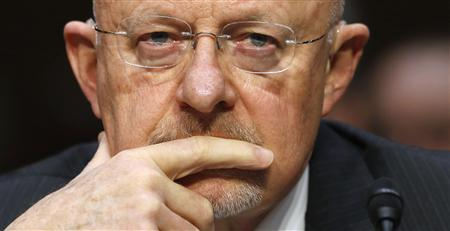 Director of National Intelligence James Clapper testifies before a Senate Intelligence Committee hearing on ''Current and Projected National Security Threats to the United States'' on Capitol Hill in Washington March 12, 2013. REUTERS/Kevin Lamarque