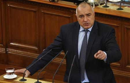 Outgoing Bulgarian Prime Minister Boiko Borisov speaks during a debate at the parliament in Sofia February 21, 2013. REUTERS/Stoyan Nenov