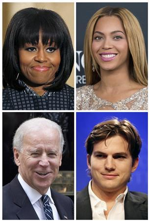 Michelle Obama, Beyonce, (top row, L-R), Joe Biden, and Ashton Kutcher (bottom row, L-R), are pictured in this file photo combination. REUTERS/Files