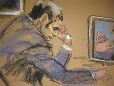 Former New York City police officer Gilberto Valle, dubbed by local media as the ''Cannibal Cop'' cries during his trial in this courtroom sketch in New York March 7, 2013. REUTERS/Jane Rosenburg