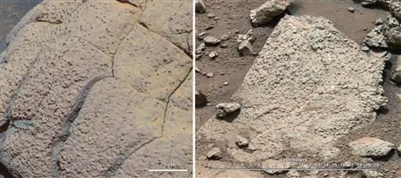 A set of images compares rocks seen by NASA's Opportunity rover and Curiosity rover at two different parts of Mars, in this NASA handout photo. On the left is '' Wopmay'' rock, in Endurance Crater, Meridiani Planum, as studied by the Opportunity rover. REUTERS/NASA/JPL-Caltech/Cornell/MSSS/Handout