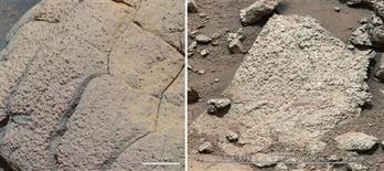 "A set of images compares rocks seen by NASA's Opportunity rover and Curiosity rover at two different parts of Mars, in this NASA handout photo. On the left is "" Wopmay"" rock, in Endurance Crater, Meridiani Planum, as studied by the Opportunity rover. REUTERS/NASA/JPL-Caltech/Cornell/MSSS/Handout"