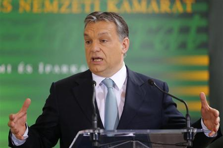 Hungarian Prime Minister Viktor Orban delivers a speech during a business conference in Budapest March 12, 2013. REUTERS/Laszlo Balogh