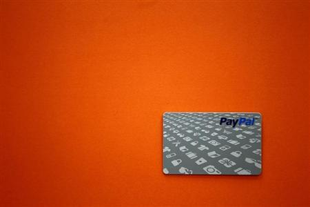A PayPal card is shown as customers can now pay with the card at selected Home Depot stores such as the one in Daly City, California, February 21, 2012. REUTERS/Beck Diefenbach