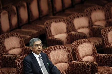 The Japanese government's nominee for Bank of Japan (BOJ) governor Haruhiko Kuroda attends a hearings session at the upper house of the parliament in Tokyo March 11, 2013. REUTERS/Issei Kato