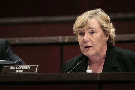 U.S. Representative Zoe Lofgren (D-CA), the chairman of the Committee on Standards of Official Conduct (The Ethics Committee) speaks during Thursday's hearing on Capitol Hill in Washington, July 29, 2010. REUTERS/Hyungwon Kang