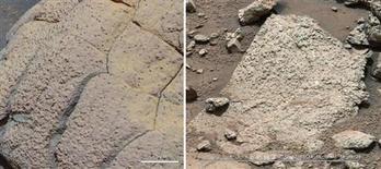 """Снимки скалистых пород с разных частей Марса, сделанные марсоходами NASA """"Opportunity"""" и """"Curiosity"""". Через семь месяцев после того, как марсоход NASA """"Curiosity"""" приземлился на красную планету, чтобы оценить, есть ли на Марсе ресурсы для жизни, ученые получили ответ на этот вопрос: """"да"""". REUTERS/NASA/JPL-Caltech/Cornell/MSSS/Handout"""