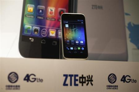 A ZTE Grand X LTE 4G smartphone is displayed at a news conference in Hong Kong August 28,2012. REUTERS/Tyrone Siu/Files