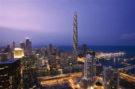 An undated handout rendering shows the Chicago Spire (tallest building, background). REUTERS/Courtesy of Shelbourne Deveopment/Handout