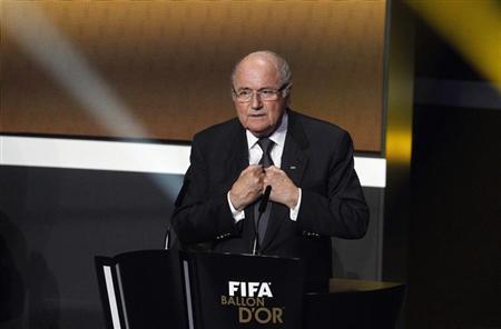 FIFA President Sepp Blatter speaks as he opens the FIFA Ballon d'Or 2012 Gala at the Kongresshaus in Zurich January 7, 2013. REUTERS/Arnd Wiegmann