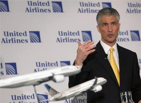 Jeff Smisek, Chairman, President and Chief Executive Officer of Continental speaks during a news conference announcing the merger between Continental and United Airlines in New York, May 3, 2010. REUTERS/Shannon Stapleton