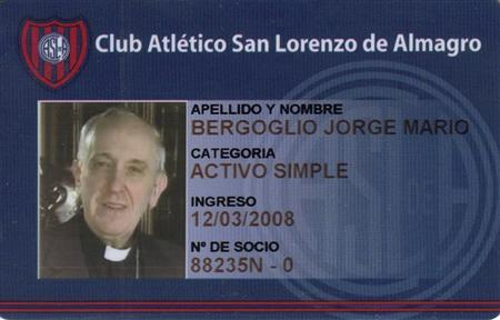 A photo of the membership card of Argentine Cardinal Jorge Bergoglio from the San Lorenzo soccer club, of which he is known to be a fan, is seen in this undated handout photograph distributed by the club on March 13, 2013, after Bergoglio was elected as the new Pope. REUTERS/San Lorenzo soccer club/Handout