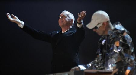 Neil Tennant (L) and Chris Lowe of the British band Pet Shop Boys perform during the German game show ''Wetten Dass'' (Bet it...?) in Erfurt February 27, 2010. REUTERS/Johannes Eisele