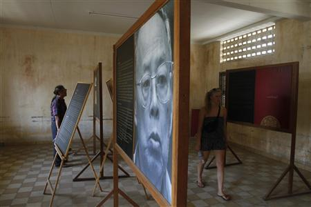 A portrait of former Khmer Rouge foreign minister Ieng Sary is displayed at the S-21 security prison, presently known as the Tuol Sleng genocide museum, in Phnom Penh March 14, 2013. Ieng Sary, who was standing trial for crimes against humanity during his time as the Khmer Rouge's foreign minister in Cambodia in the 1970s, died on Thursday, the court said. REUTERS/Samrang Pring