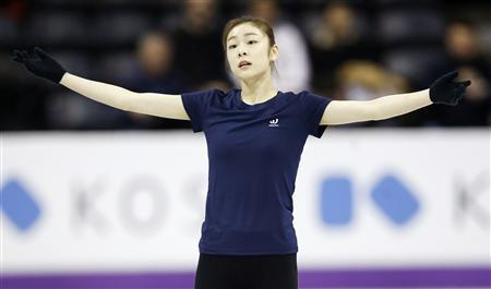 Kim Yuna of South Korea skates during practice sessions at the ISU World Figure Skating Championships in London, Ontario, March 12, 2013. REUTERS/Mark Blinch