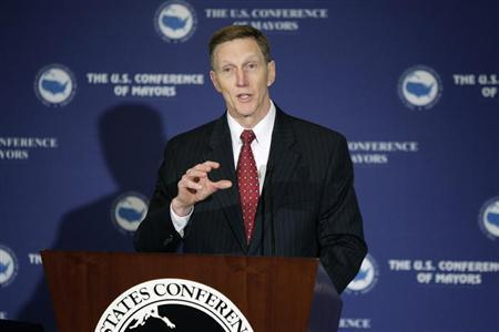 TSA Administrator John Pistole delivers remarks to the U.S. Conference of Mayors winter meeting in Washington, January 18, 2013. REUTERS/Jonathan Ernst