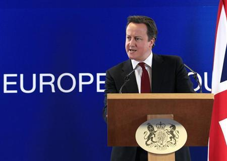 Britain's Prime Minister David Cameron holds a news conference at the end of a European Union leaders summit in Brussels March 15, 2013. REUTERS/Yves Herman