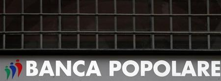 A Banca Popolare di Lodi sign is seen in downtown Milan October 25, 2010. REUTERS/Stringer