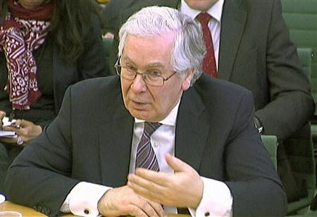 Bank of England Governor Mervyn King speaks to a parliamentary committee on banking standards in a still image taken from video, in London March 6, 2013. REUTERS/UK Parliament