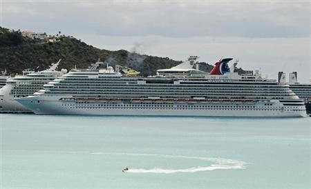 A view of the Carnival Dream cruise ship moored at the A.C. Wathey Cruise Facilities after a diesel generator malfunctioned causing temporary disruptions, in Philipsburg, Sint Maarten, March 14, 2013. REUTERS/John Halley