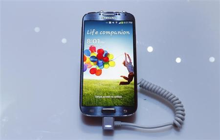 Samsung Electronics Co's latest Galaxy S4 phone is seen during its launch at the Radio City Music Hall in New York March 14, 2013. REUTERS/Adrees Latif