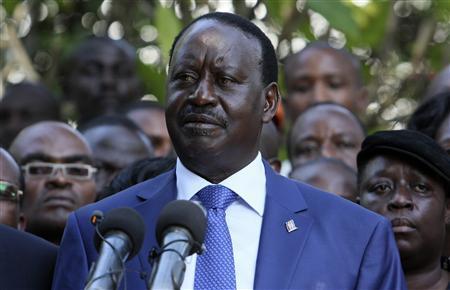 Kenya's Prime Minister Raila Odinga addresses a news conference after Uhuru Kenyatta was declared winner of Kenya's presidential election in the capital Nairobi, March 9, 2013. REUTERS/Gazelle Jonathan