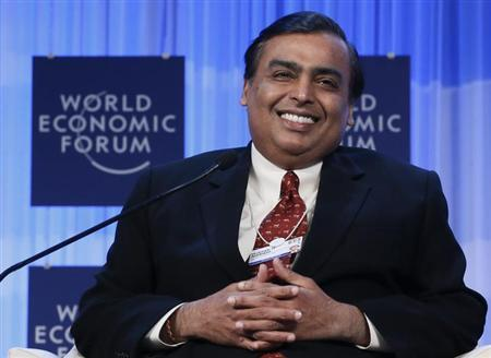 Mukesh Ambani Chairman and Managing Director of Reliance Industries attends the annual meeting of the World Economic Forum (WEF) in Davos January 25, 2013. REUTERS/Pascal Lauener