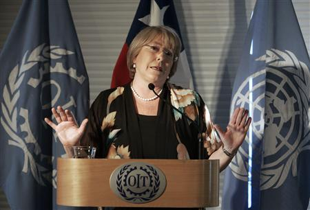 United Nations Women Executive Director Michelle Bachelet speaks at the International Labour Conference (OIT) in Santiago December 19, 2011. REUTERS/Victor Ruiz Caballero