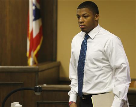Ma'lik Richmond enters juvenile court in Steubenville, Ohio, March 15, 2013. REUTERS/Keith Srakocic/Pool