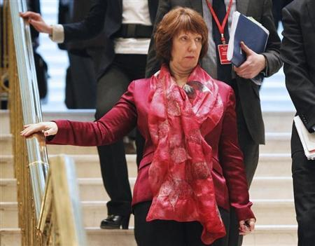 European Union foreign policy chief Catherine Ashton walks before talks on Iran's nuclear programme in Almaty February 27, 2013. REUTERS/Shamil Zhumatov