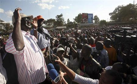 Kenya's Prime Minister Raila Odinga addresses his supporters during a political rally at the Kibera in the capital Nairobi, March 12, 2013. REUTERS/Gregory Olando