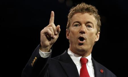 Senator Rand Paul of Kentucky gestures at the Conservative Political Action Conference (CPAC) at National Harbor, Maryland March 14, 2013. REUTERS/Kevin Lamarque