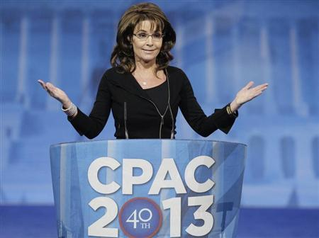Former Alaska Governor Sarah Palin (R-AK) addresses the Conservative Political Action Conference (CPAC) in National Harbor, Maryland, March 16, 2013. REUTERS/Jonathan Ernst