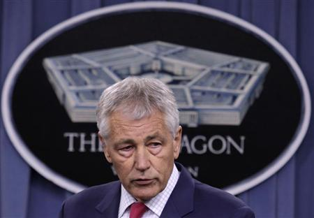 U.S. Secretary of Defense Chuck Hagel speaks at his news conference at the Pentagon in Washington March 15, 2013. REUTERS/Yuri Gripas