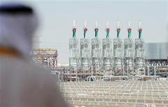 Les Emirats arabes unis (EAU) ont inauguré dimanche la plus grande centrale solaire concentrée au monde, dont la mise en service est présentée comme une étape clé dans le développement des énergies renouvelables au Moyen-Orient. /Photo prise le 17 mars 2013/REUTERS/Ben Job