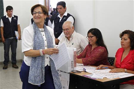 Lima's Mayor Susana Villaran (2nd L) arrives to cast her vote during the city's mayor recall election in Lima March 17, 2013. REUTERS/Enrique Castro-Mendivil