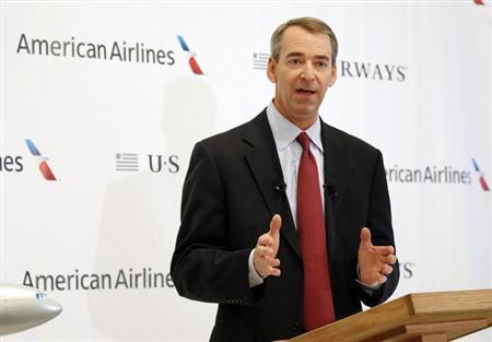 American Airlines Chairman, President and CEO Tom Horton announces the planned merger of AMR Corp, the parent of American Airlines, with U.S. Airways at Dallas-Ft Worth International Airport, February 14, 2013. REUTERS/Mike Stone